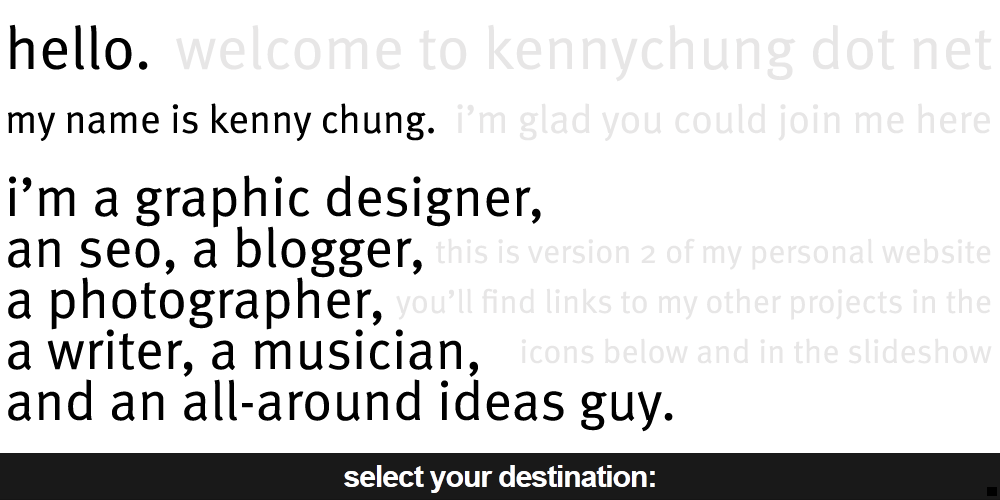 hello. my name is kenny chung. i'm a graphic designer, an seo, a blogger, a photographer, a writer, a musician, and an all-around ideas guy.