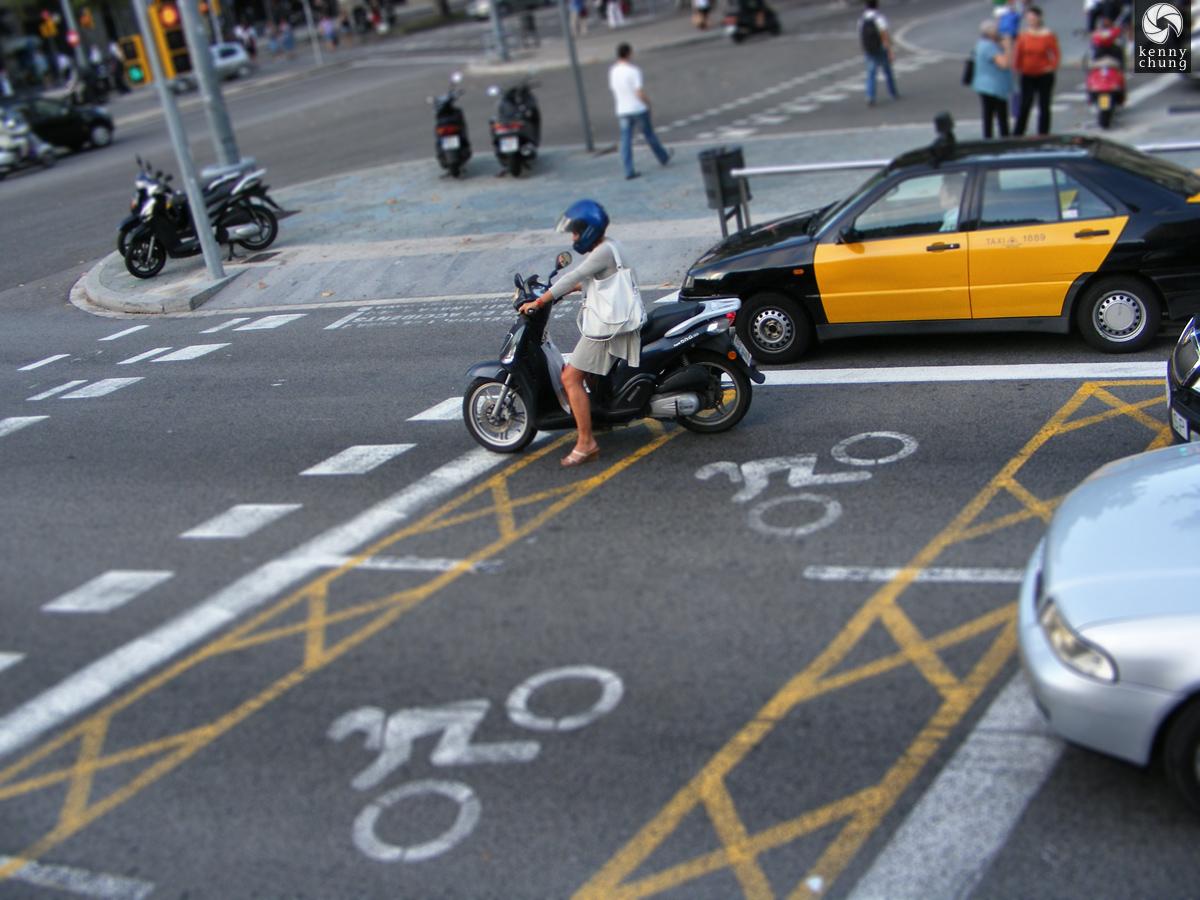Woman on motorbike in Barcelona
