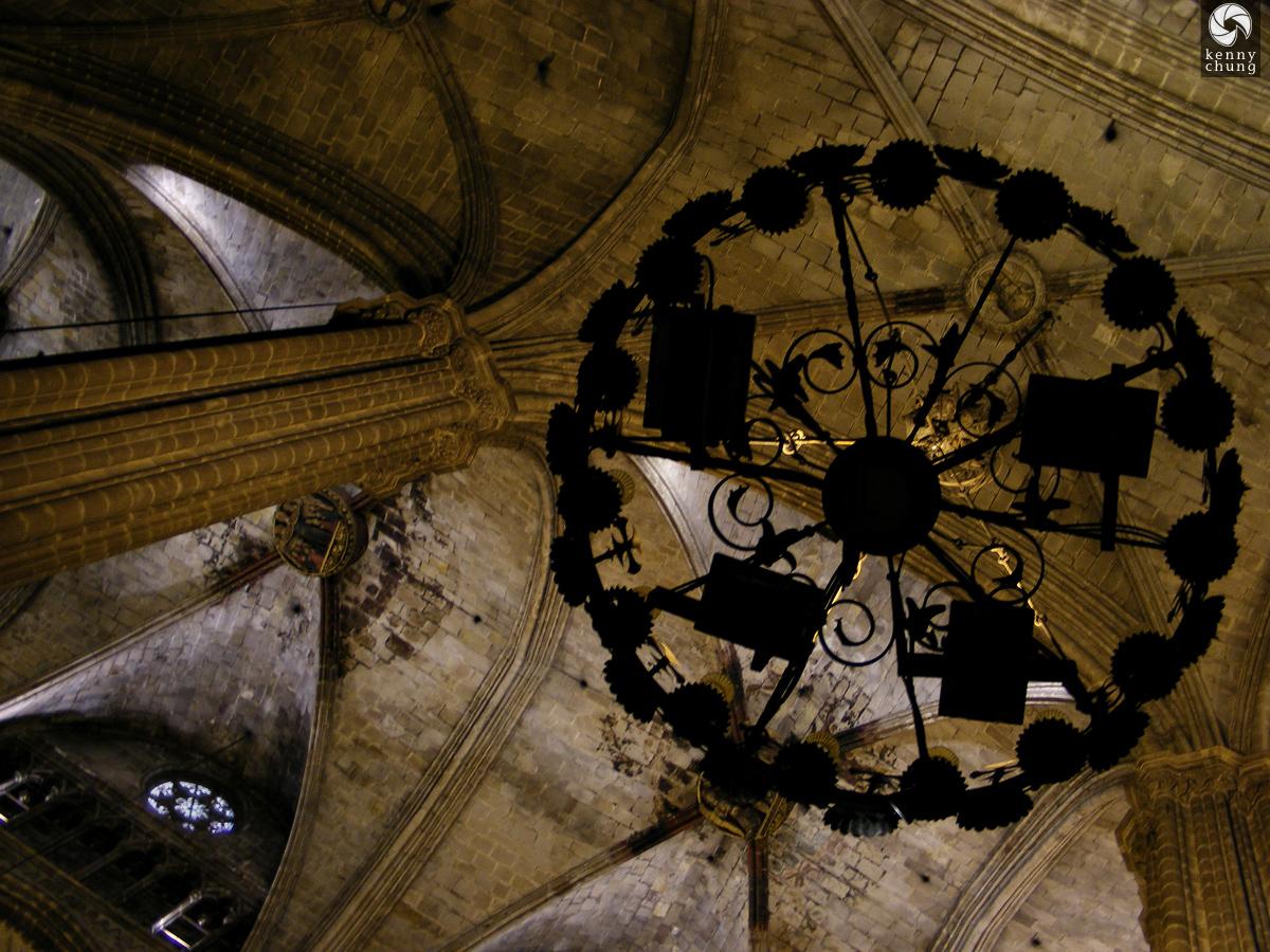 Gothic chandelier in Catedral de Barcelona