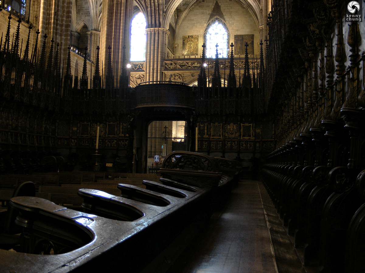 School desks in Santa Eulalia Cathedral