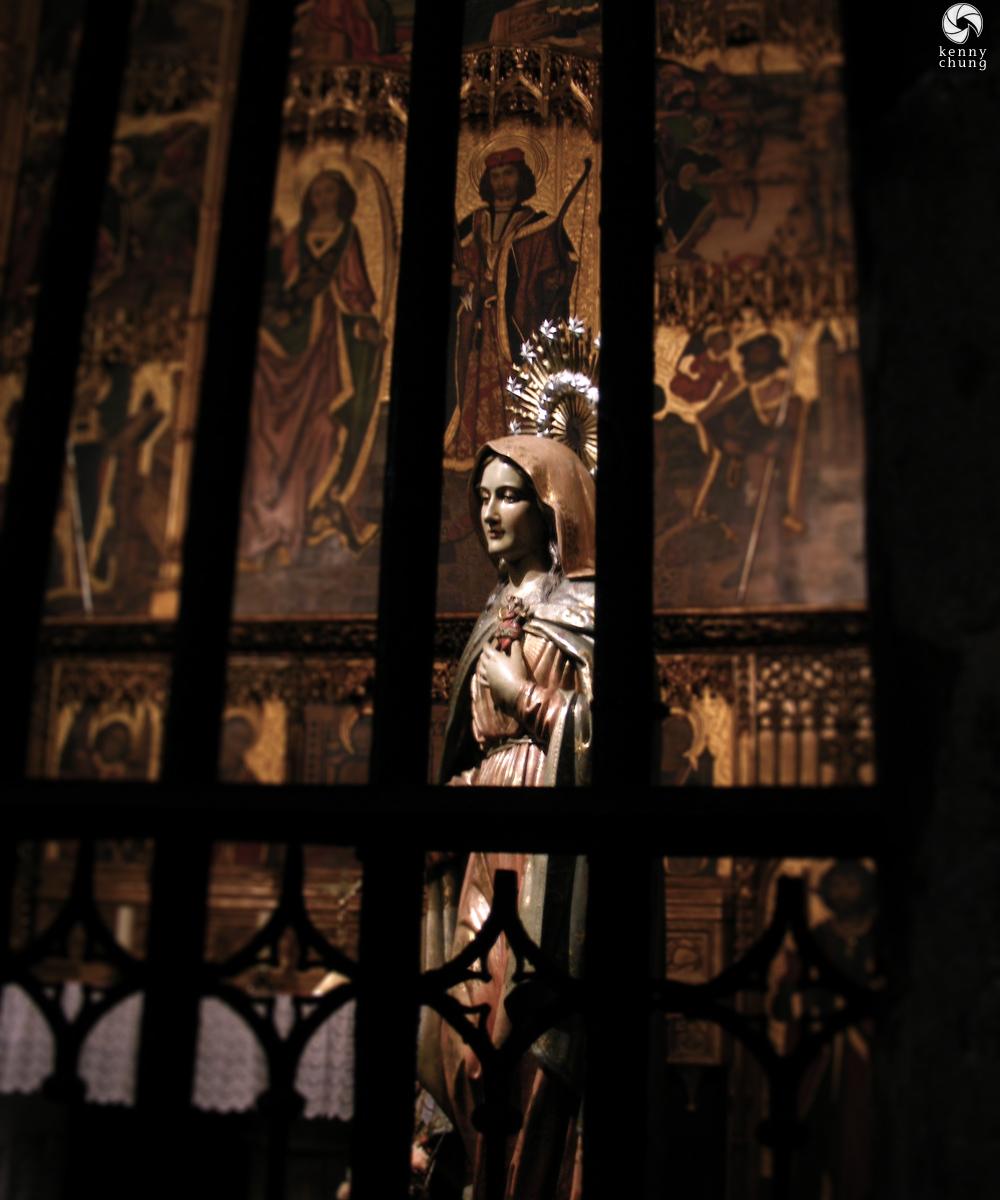 Virgin Mary statue at Cathedral of Santa Eulalia