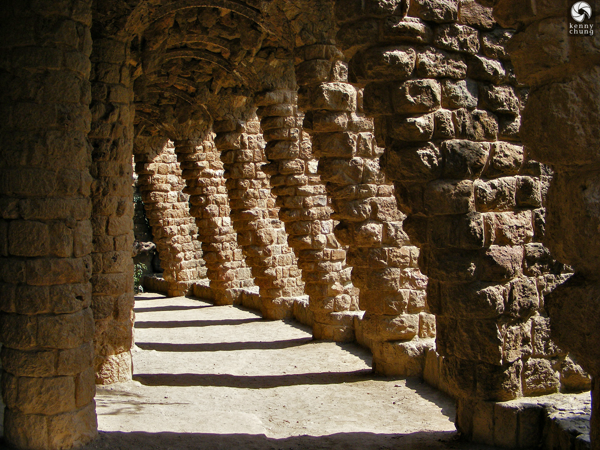 Stone pillars at Park Güell