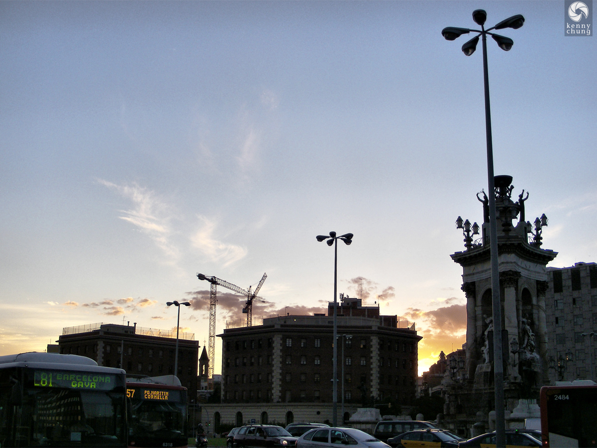 The sun setting on Plaça d'Espanya