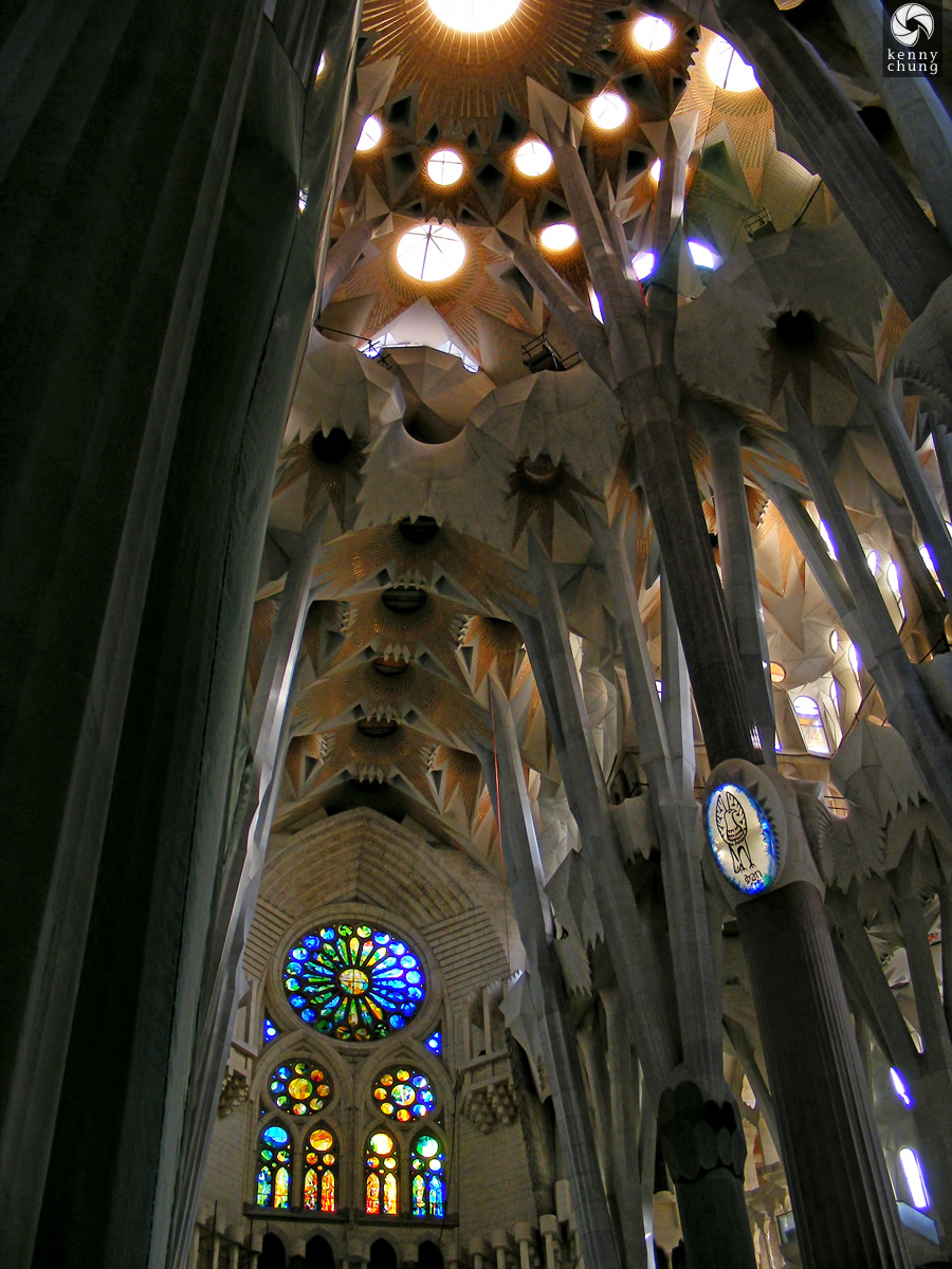 Another picture of the interior of La Sagrada Família.