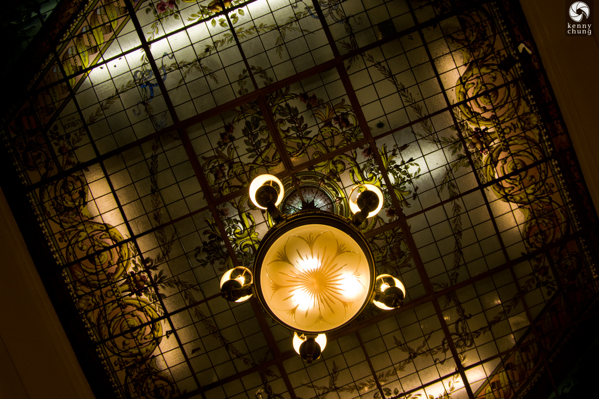 Ceiling and chandelier of Cafe Tortoni in Buenos Aires