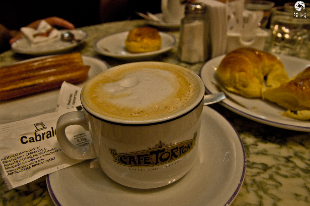 Coffee, churros and croissants from Cafe Tortoni in Buenos Aires