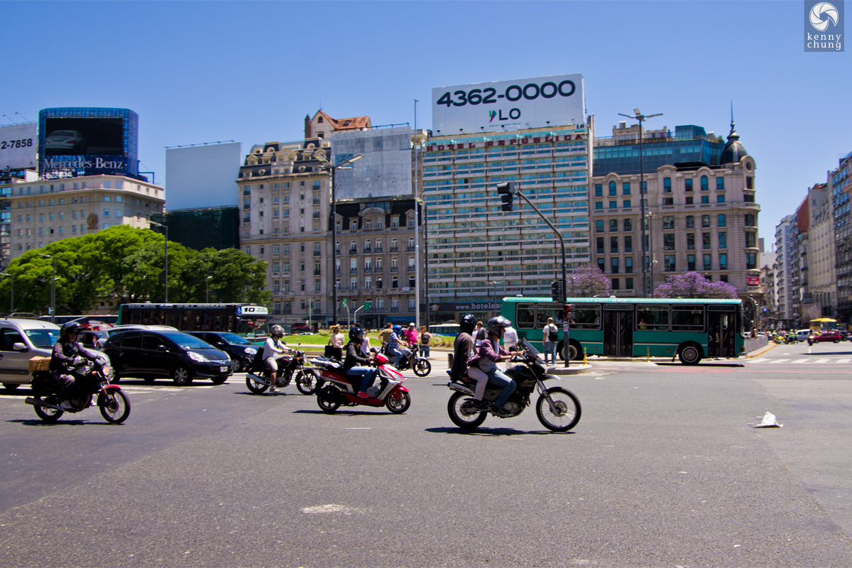 Motorcyclists on Carlos Pellegrini street in Plaza de la Republica