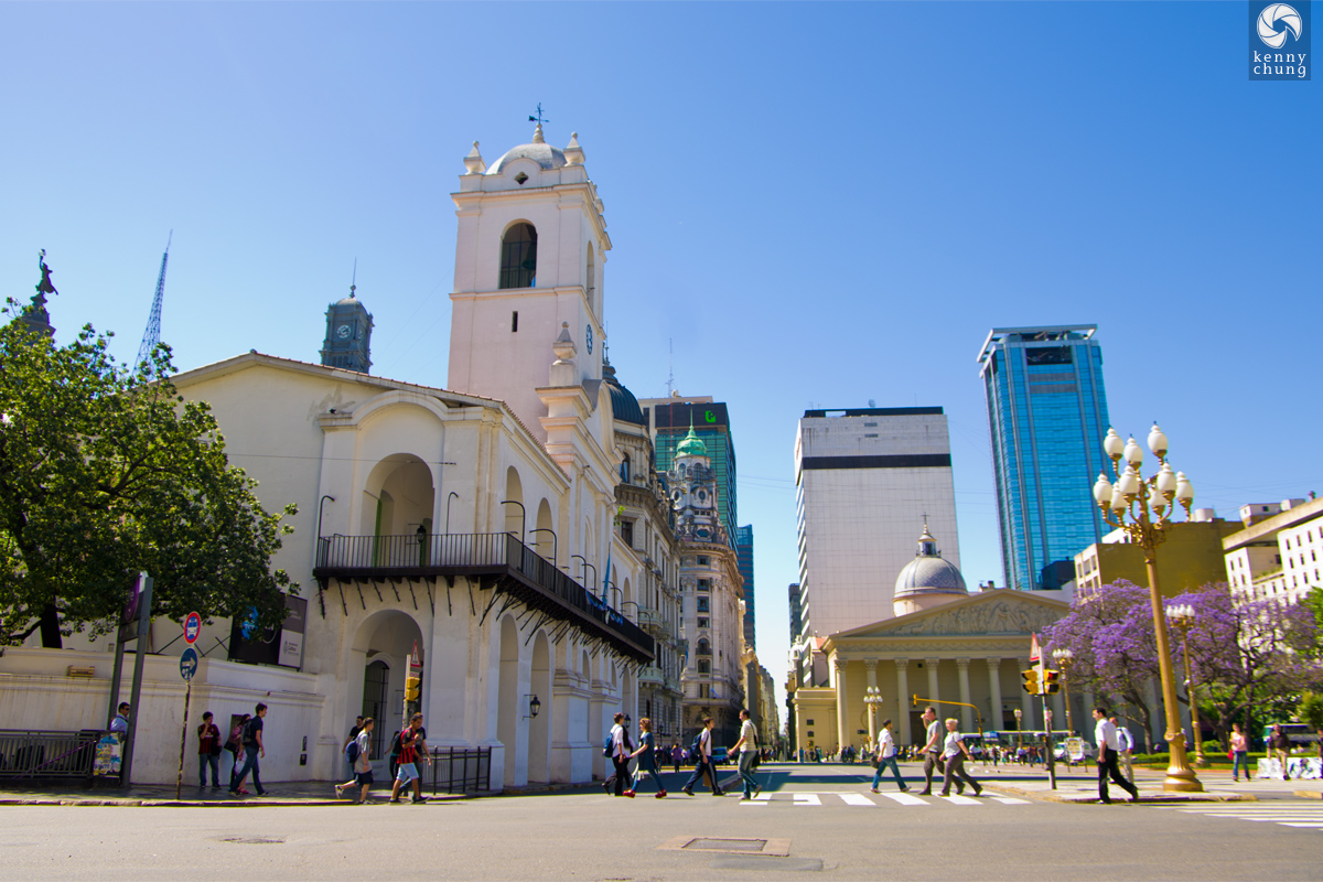 Cablido building and Metropolitan Cathedral in Buenos Aires