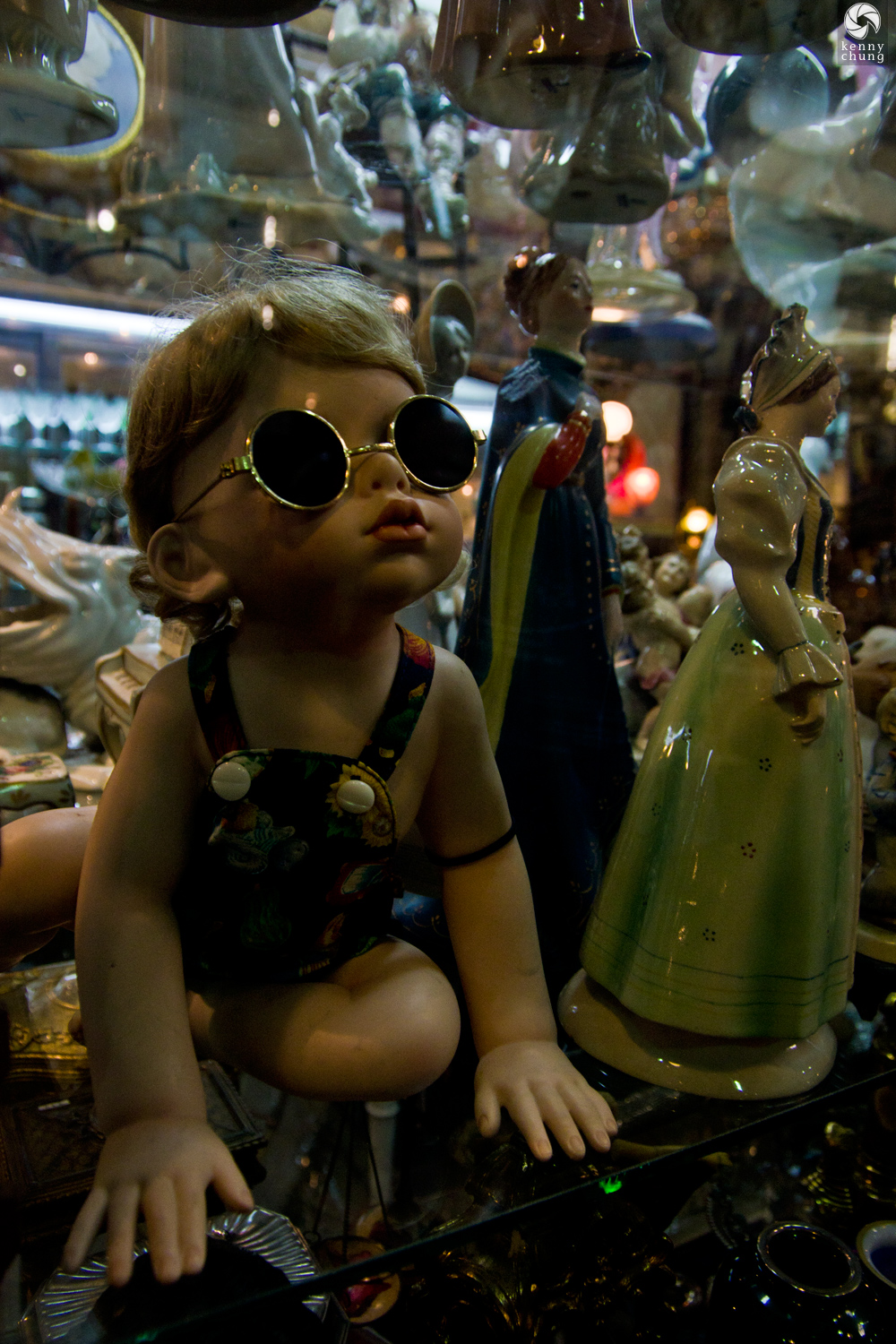 Cool baby figurine wearing sunglasses in San Telmo