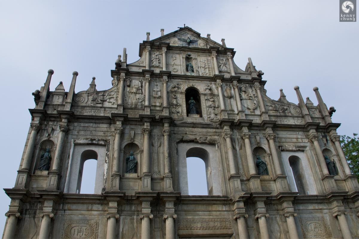 Closeup of the Ruins of St. Paul's in Macau