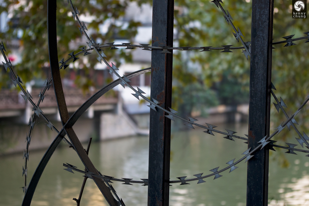Barbed wire fence in Nanjing Fuzimiao