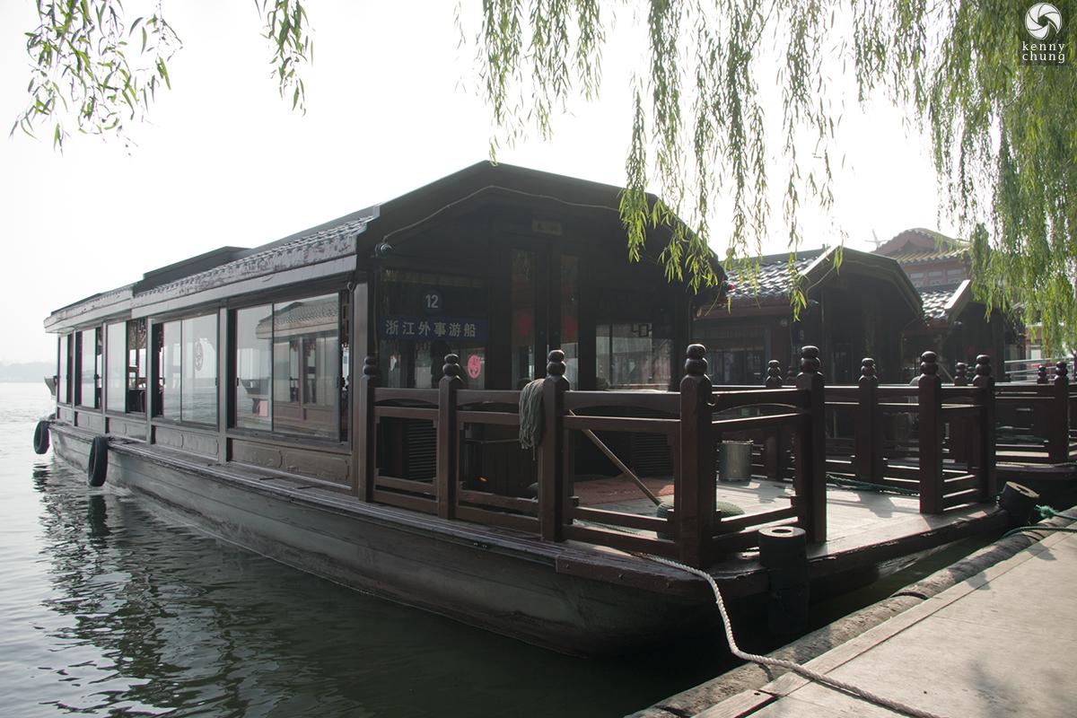 Boat on West Lake in Hangzhou, China