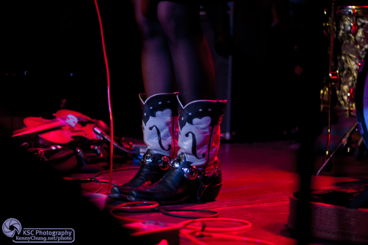 Amanda Shires' f-hole cowboy boots