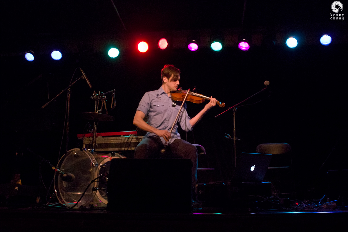 Christopher Tignor playing violin at Littlefield, Brooklyn