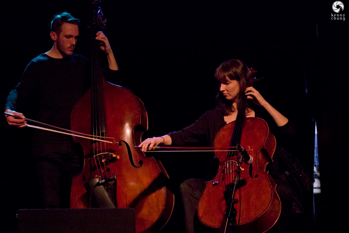 Bing and Ruth's bass player Greg Chudzik and cello player Leigh Stuart
