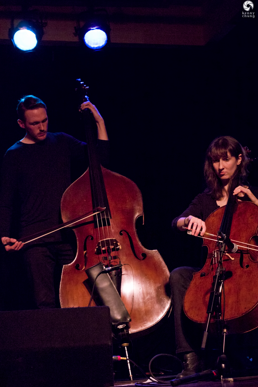 Bing and Ruth bassist Greg Chudzik and celloist Leigh Stuart at Littlefield, Brooklyn