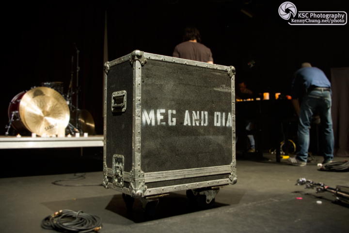 Meg & Dia logo on their instrument crates