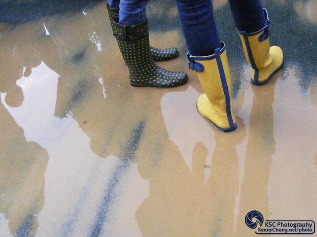 Muddy rain boots at Central Park
