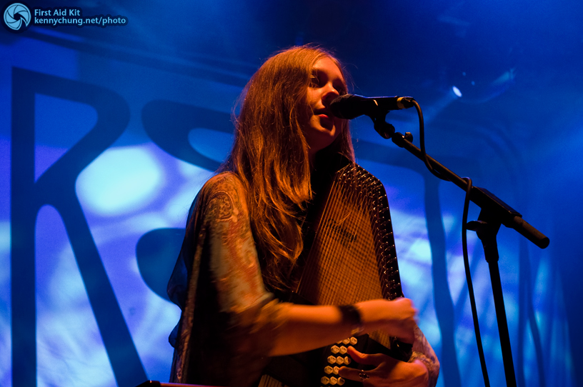 Johanna Soderberg playing the autoharp and singing backup vocals.