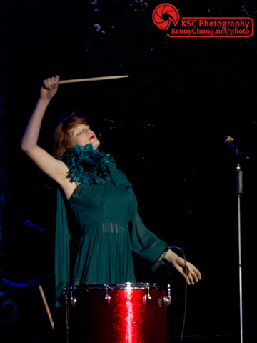 Florence Welch banging the drums at Central Park Summerstage