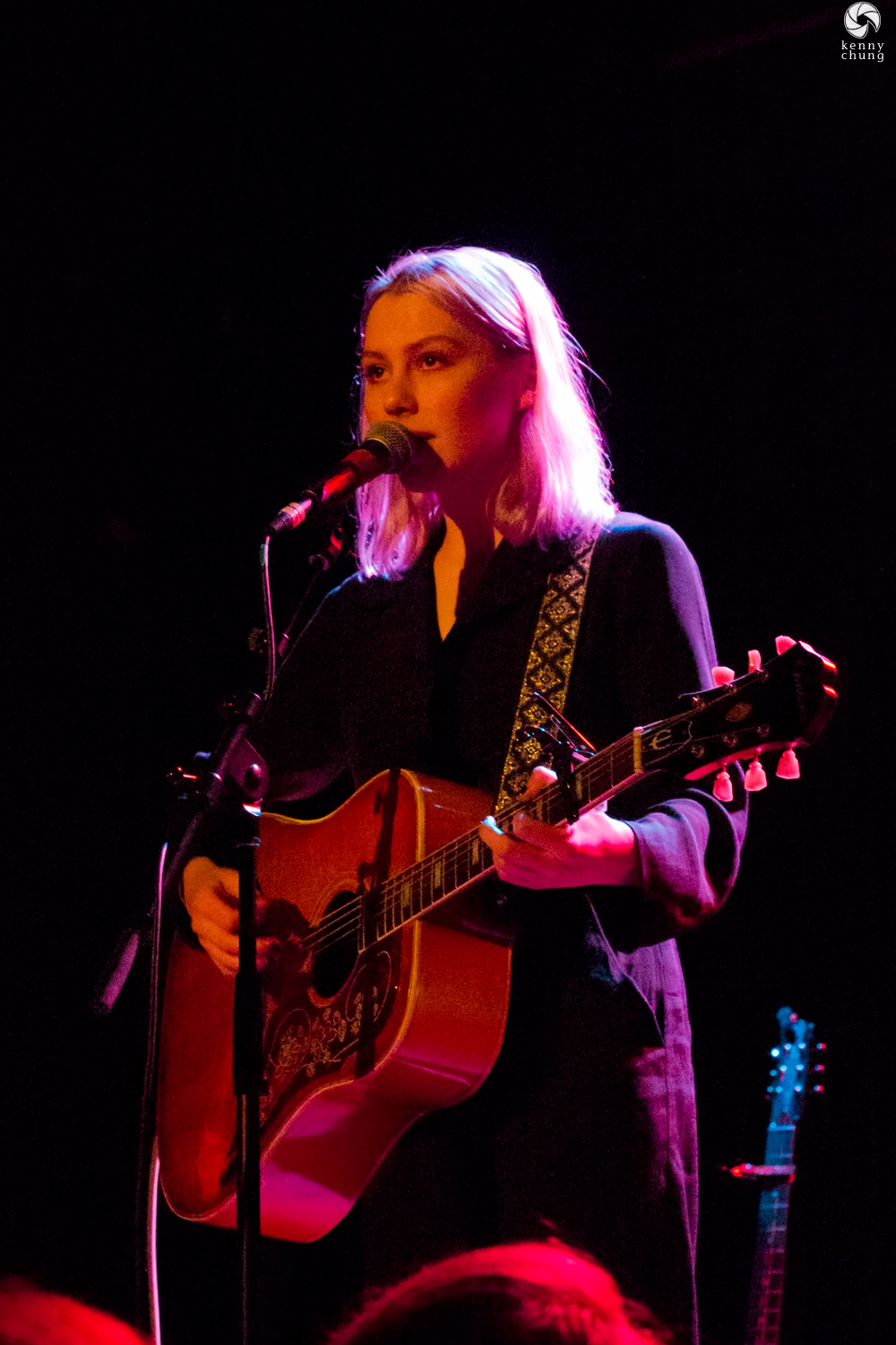 Phoebe Bridgers playing her Epiphone acoustic onstage at Bowery Ballroom