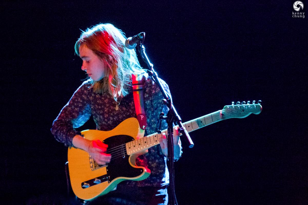 Julien Baker playing her Fender Telecaster at the Bowery Ballroom