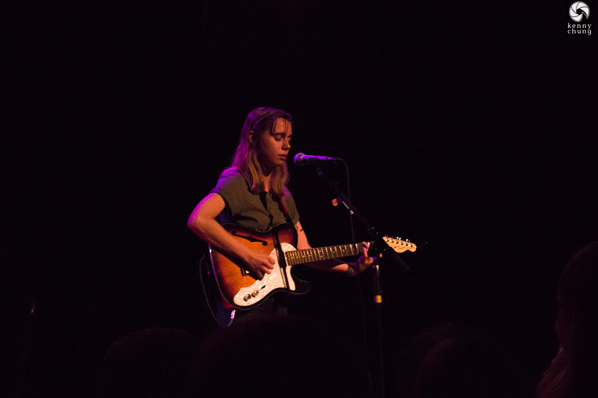 Julien Baker and her Fender Telecaster Thinline in sunburst