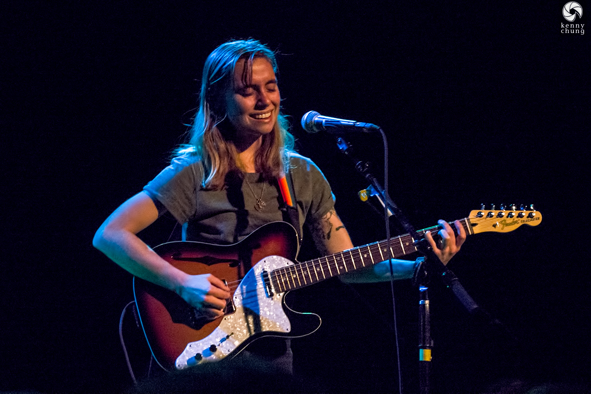 Julien  Baker singing at the Music Hall of Williamsburg