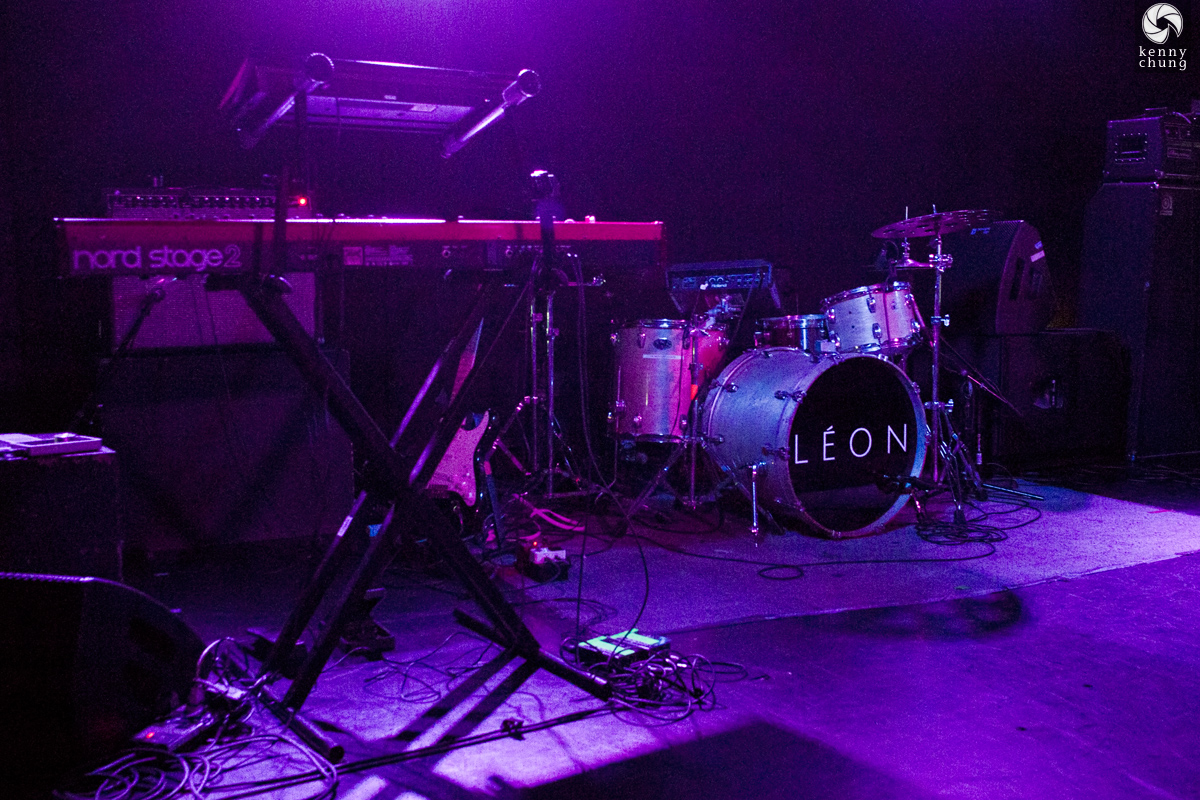 LEON logo on the drums at Mercury Lounge