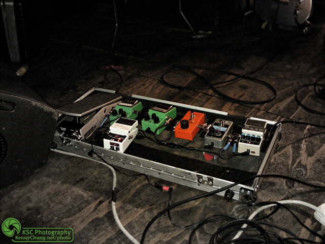 Meg Frampton's guitar effects pedal board