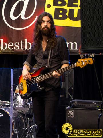 Black Sea Bassist Jeremy Kay and sunburst Fender P Bass