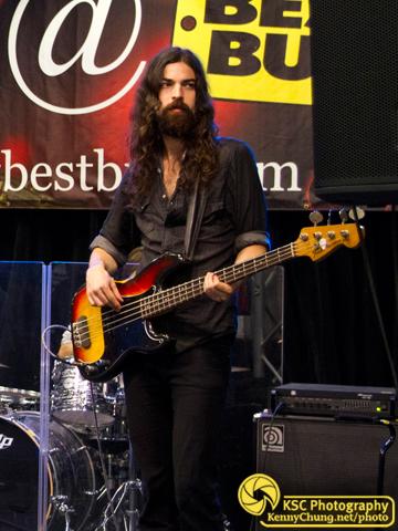 Black Sea Bassist Jeremy Kay and sunburst Fender P Bass