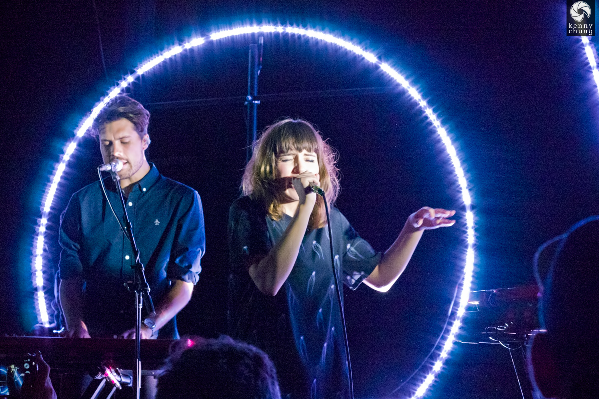 Anthony West and Josephine Vander Gucht of Oh Wonder on stage at Rough Trade NYC