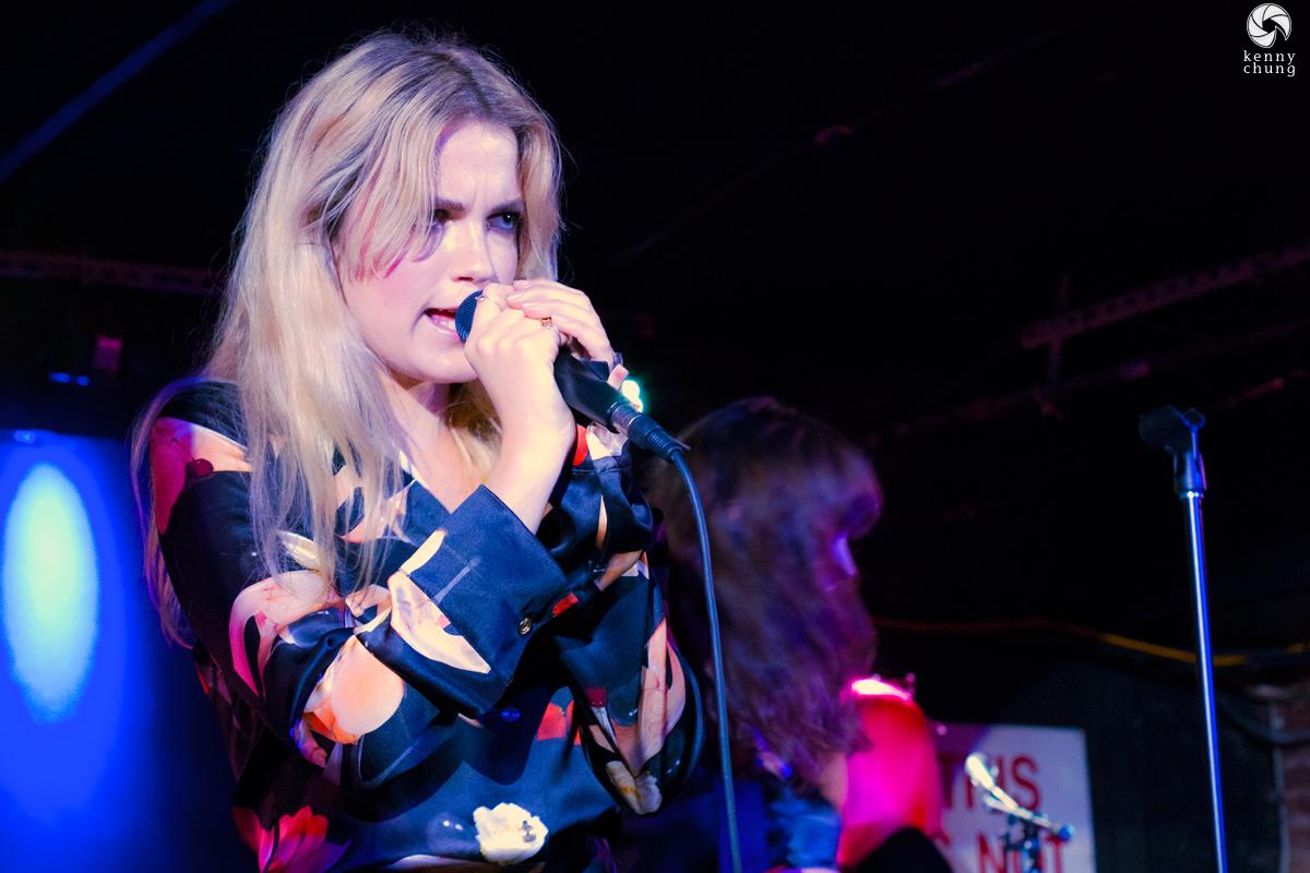 Elektra Kilbey-Jannson of Say Lou Lou performing at Mercury Lounge