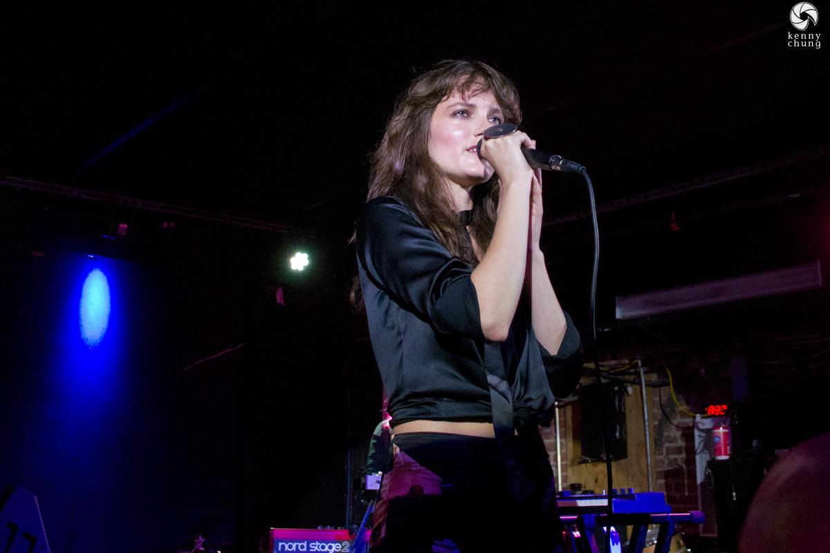 Miranda Kilbey-Jansson of Say Lou Lou performing at Mercury Lounge