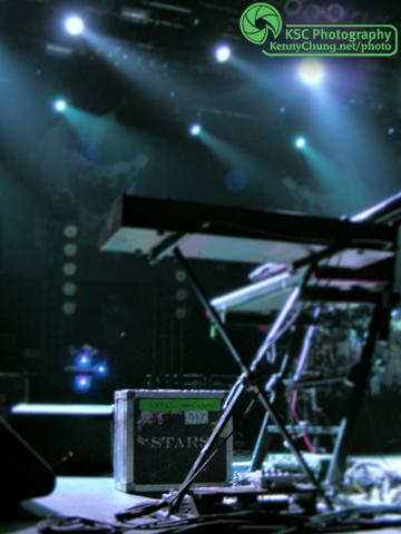 Stars stage setup with Chris Seligman's keyboard