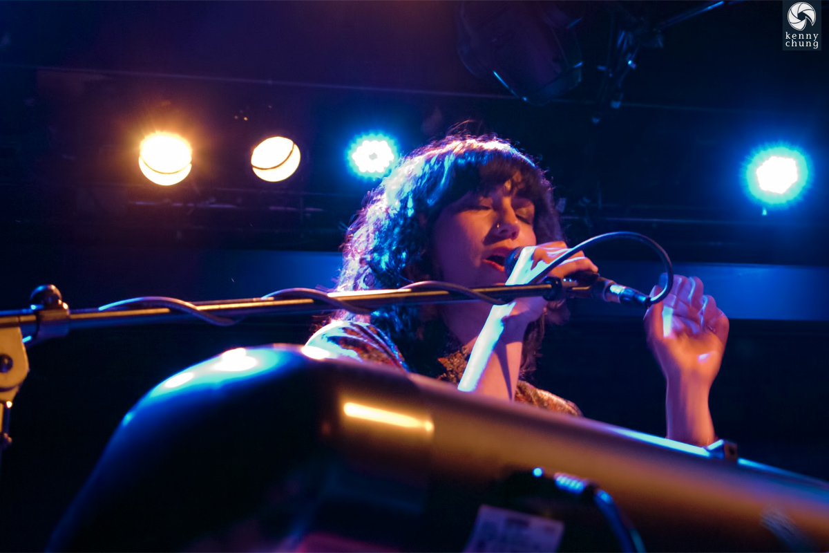 Jessica Dobson playing keyboard and singing at Bowery Ballroom
