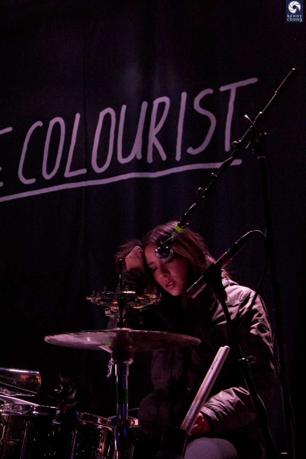 Maya Tuttle of The Colourist during soundcheck at Rough Trade, Brooklyn