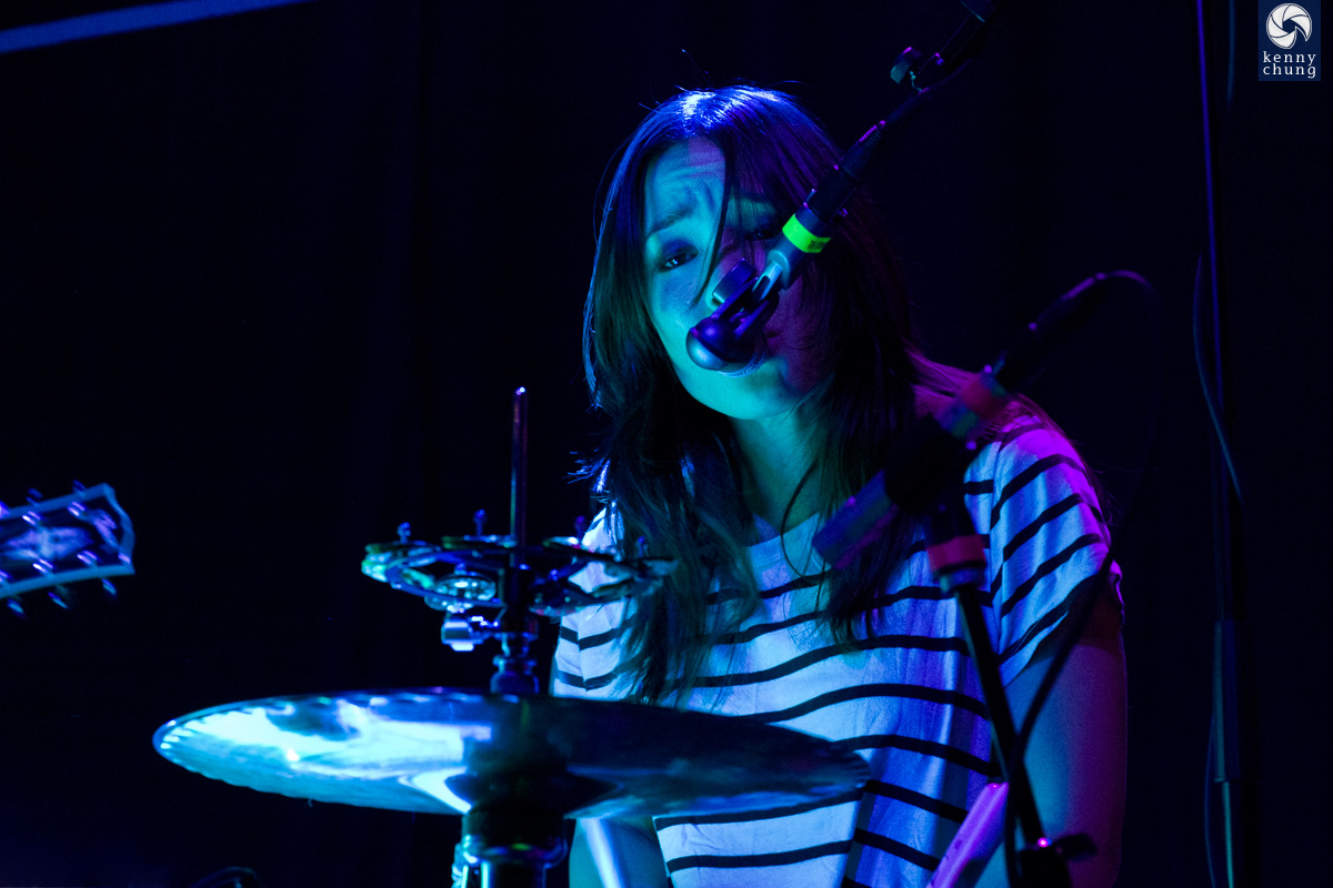 Maya Tuttle of The Colourist singing at Rough Trade, Brooklyn