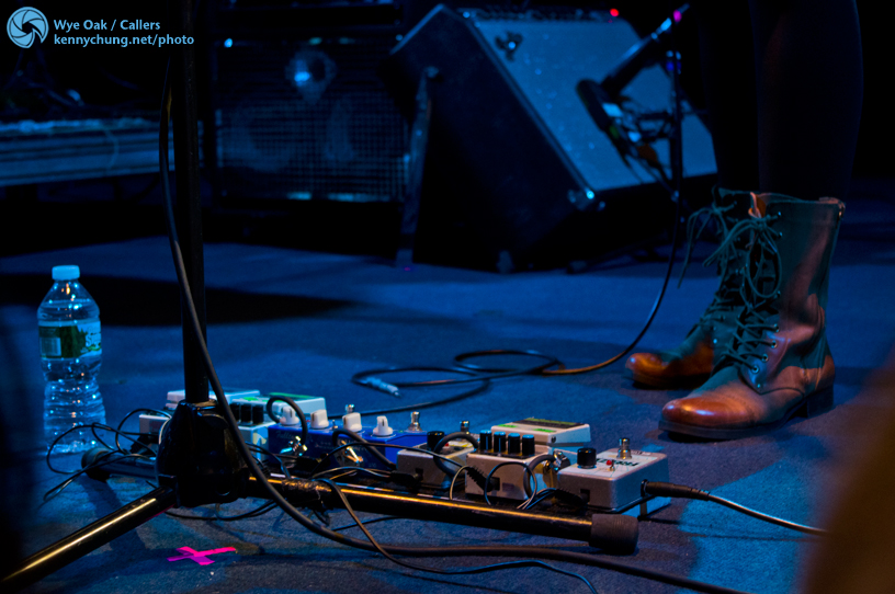 Jenn Wasner's guitar pedal board on stage