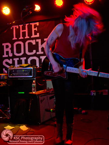 Wye Oak's Jenn Wasner rocking out on stage