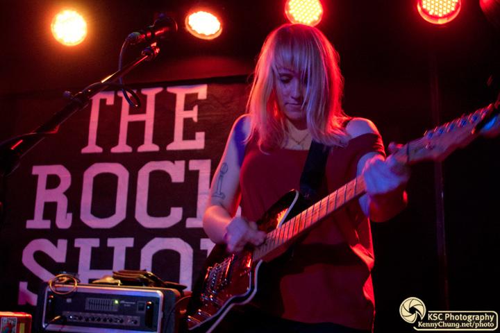 Jenn Wasner's black and tortoise shell Reverend Slingshot guitar