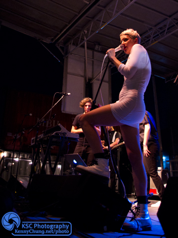 Claire Evans on stage at Brooklyn Night Bazaar