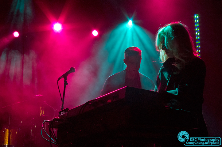 Florence and the Machine keyboardist Isabella Summers on stage with guitarist Robert Ackroyd at Creators Project