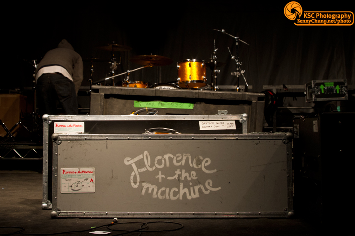 Florence and the Machine instrument flight cases stage with logo
