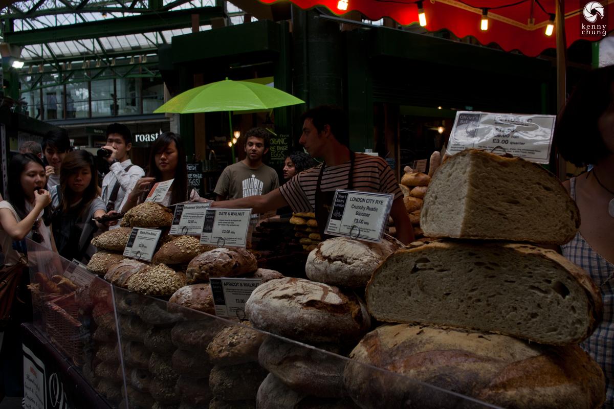 A bread vendor at Borough Market, London