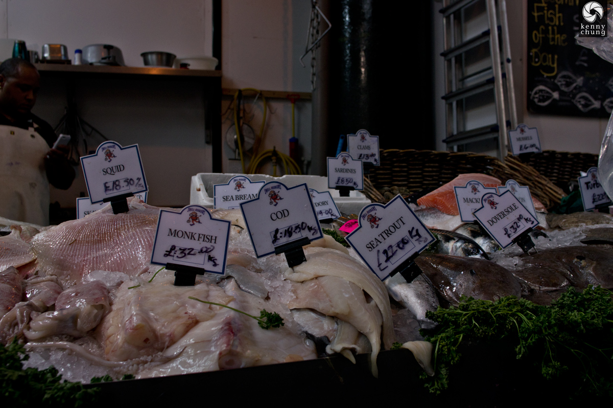 A fish monder at Borough Market, London