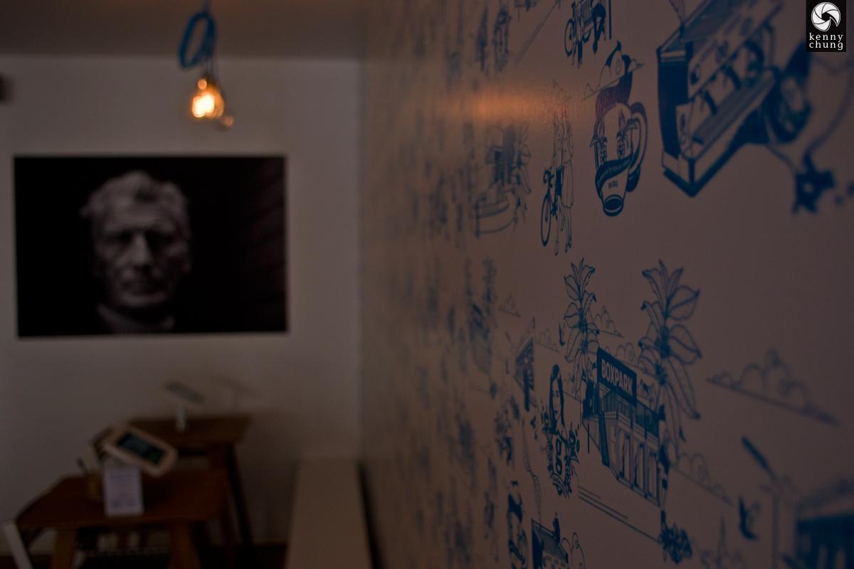 Interior decor at Guardian Coffee in Boxpark Shoreditch
