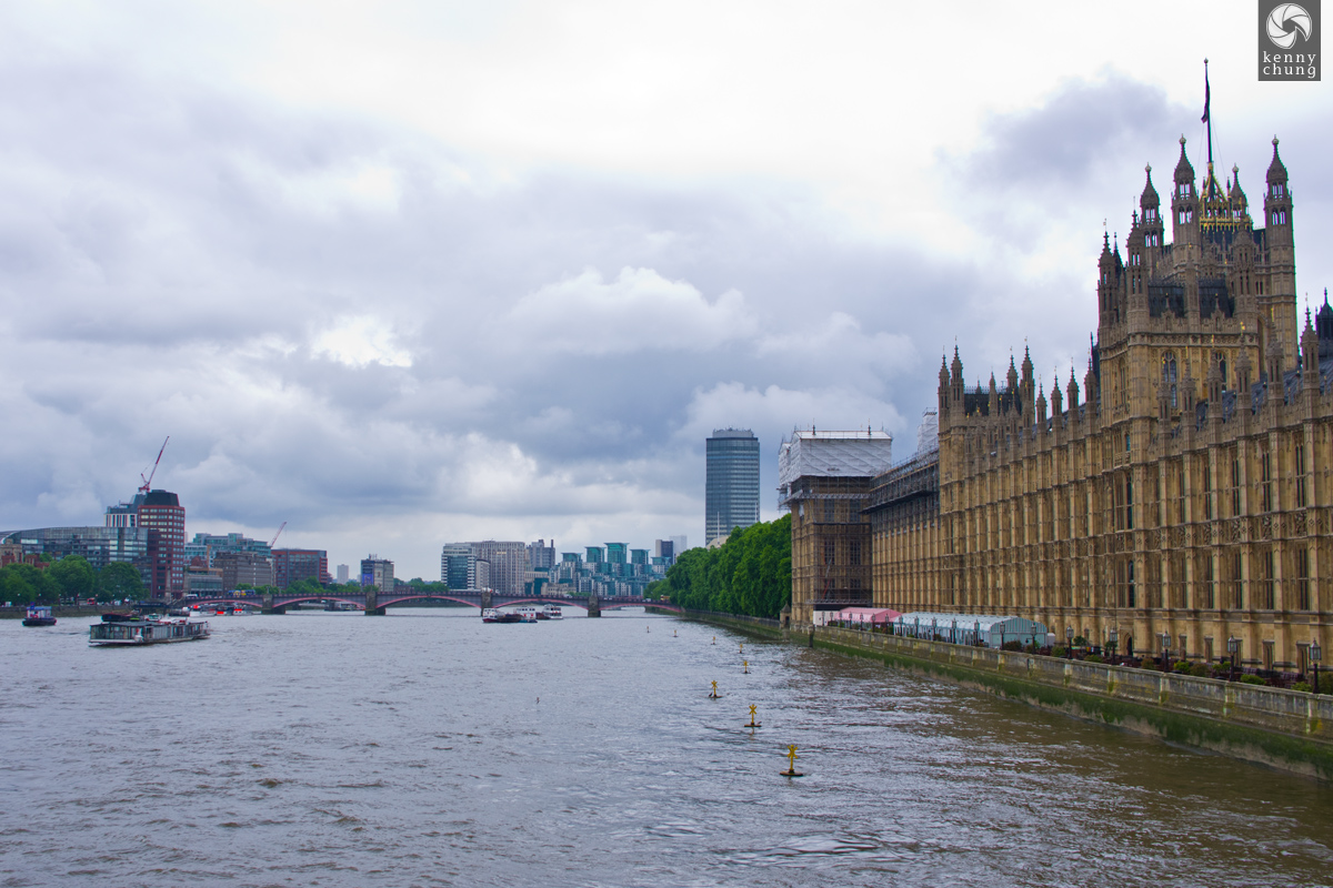 The Palace of Westminster overlooking the River Thames in London