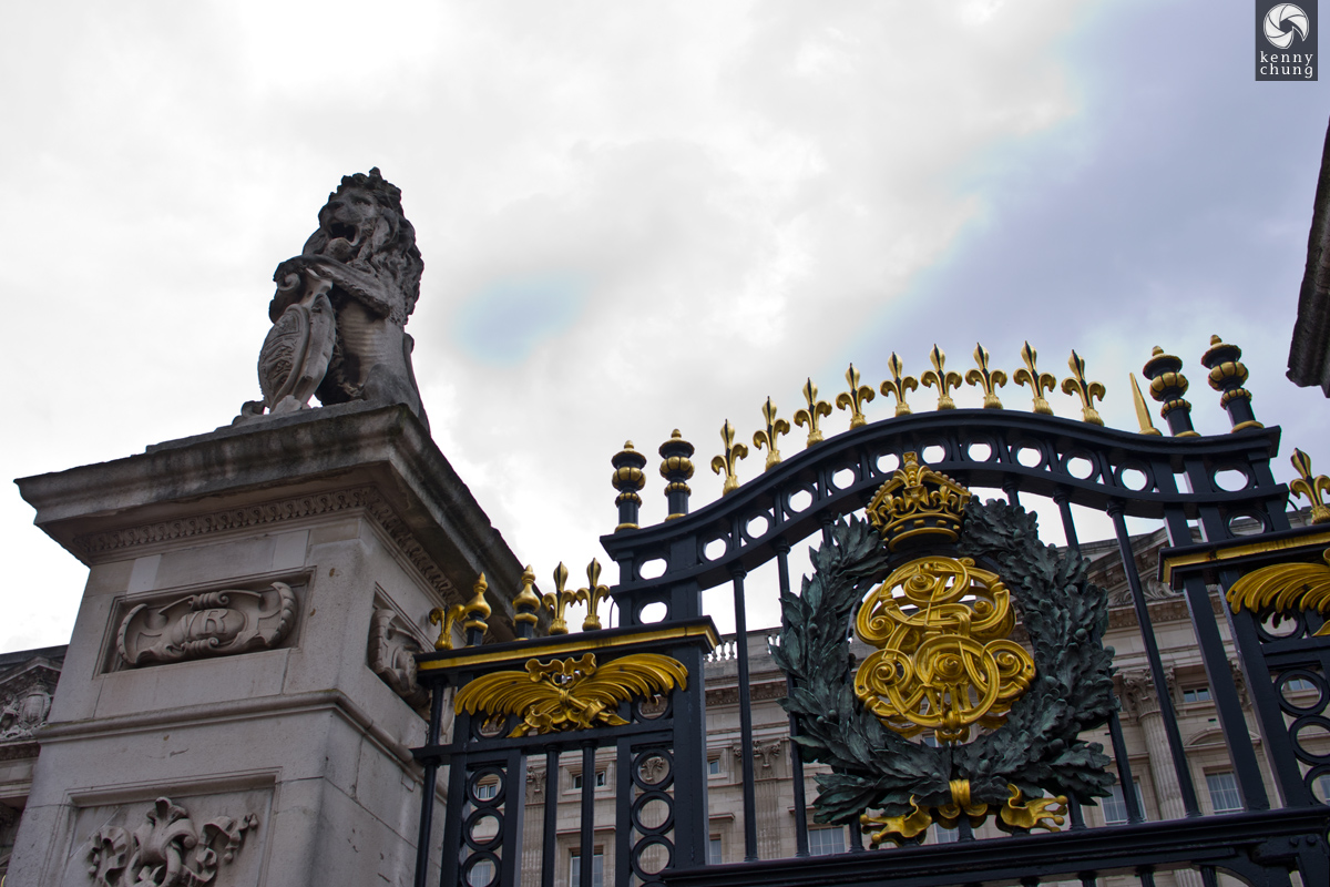 The gates of Buckingham Palace in London
